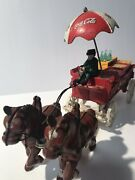 Vintage Cast Iron Coca Cola Delivery 2 Horse Drawn Wagon And Crates Used