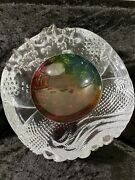 Magnificent Large Signed Leon Applebaum Art Glass Blown And Gathered Textured Bowl