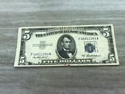 1953 Five Dollar Bill Andbull Lightly Circulated Silver Certificate Note Andbull F40611393a