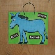 Route 66 Blue Donkey Salvaged Metal Desert Art By Outsider Cat Deleree