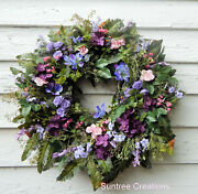 Summer-fall French Country Cottage Wreath-front Door Wreath-silk Floral Wreath