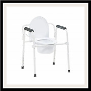Drive Medical Steel Folding Deep Seat Bedside Commode, White 11148nw-1
