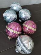 Vintage Christmas Ornaments 6 Stencil Glitter Pink Blue Silver Shabby And Chic