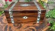 Vintage Wooden Rosewood Mother Of Pearl Writing Sewing Box With Key C3