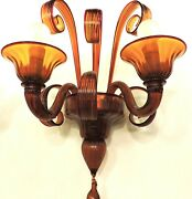 Wall Glass Murano Authentic Colour Caramel Very Bright And Ben Performed
