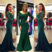 Green Mermaid Mother Off The Bride Dresses Lace Sweep Train Evening Prom Gown