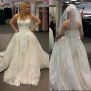 White Ivory Lace Wedding Dresses A Line Sweetheart Sweep Train Bridal Ball Gown