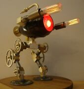 Steampunk Lamp - Based On Robocop Robot Ed-209 - Brass Dimmable Edison Bulbs