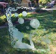 French Art Deco Window Frosted Carved Etched Lady Window B