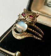Vintage Gold Cat Ring, 14 Ct Gold Cat Ring, Moonstone Ruby Cat Ring, Divine Rare