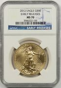2012 Early Releases Gold Eagle 50 One Ounce Ngc Ms 70 1 Oz Fine Gold