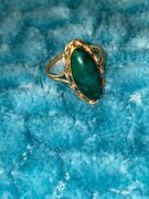 Antique Large 14k Turquoise Solid Yellow Gold Statement Ring Size 8