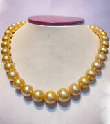 Round 10-12mm Golden South Sea Pearl 37pcs 15.8inches Will Be More When Strung