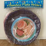 """4 Vintage Bamboo Paper Plate Holders Multi Color 9 1/2"""" New"""
