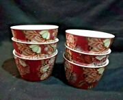Set Of 6 222 Fifth Gabrielle Red Appetizer Bowls 4 1/2
