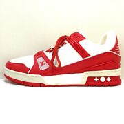 Auth Louis Vuitton Lv Trainer Snackers 1a8pjw White Red Fo0231 Mens Sneakers