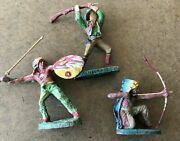 Vintage Elastolin 2 Indians And A Cowboy As Is Some Damage