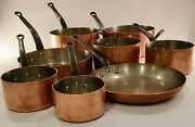 French Copper Cookware Set- 3 Mm Thick Copper. Professional Grade. 8 Piece Set.
