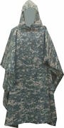 Military Style Nylon Poncho Acu Camouflage Made In Usa Brand New 200d Nylon
