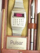 Vintage 1970and039s Stainless Steel Pulsar Time Computer With Stylus And Case