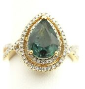 14k Yellow Gold Blue Sapphire Pear Double Halo Diamond Ring Size 7 4.40g New