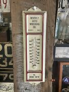 Beverly Ma Auto Wrecking Thermometer Advertising Gas Oil Shop Rare Vtg 50s Sign