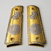 1911 Grips Full Size Government Grips Aztec Calendar Gold Plated 1911 Grips