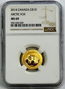 2014 Gold Canada 10 Arctic Fox 1/4 Oz Coin Ngc Mint State 69