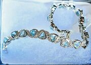 White Gold Rhodium Over Solid Sterling Silver 10.0 Ctw Swiss Blue Topaz 7 Inch F
