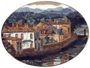 Ls055 31.5andtimes41.34 Landscape Country House Oval Mosaic Mural Art