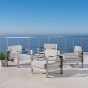 Cape Coral Outdoor Club Chair With Cushion Set Of 4, Cast Sunbrella