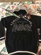 Vtg Starter Los Angeles Raiders Double Hoodie Sweatshirt Embroidered Menand039s L Nwt