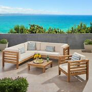 Emma Outdoor 6 Seater Acacia Wood Sectional Sofa And Club Chair Set