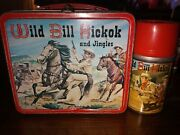 1955 Wild Bill Hickok And Jingles Lunchbox And Thermos By Aladdin Nice Condition
