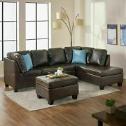 Welsh Brown Pu Leather Sectional Set