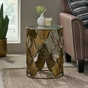 Patrice Boho Glam Handcrafted Glass Top Fish Scale Side Table Antique Brass