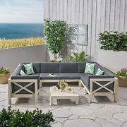 Brava Outdoor 8-seater Acacia Wood Sectional Sofa Set With Coffee Table