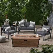 Miraclle Outdoor 3 Piece Aluminum Chat Set With Cushions And Fire Pit