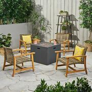 Tabby Outdoor 5 Piece Wood And Wicker Club Chairs And Fire Pit Set