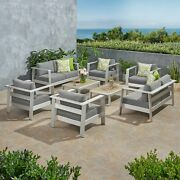 Qearl Outdoor 6 Seater Aluminum Club Chair Set With Coffee Table And Loveseat