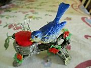 Vintage Pin Cushion Blue Bird With Tree Limb Nest Red Flowers