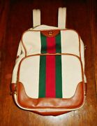 New Striped Menand039s Large Canvas And Leather Backpack - Free Shipping