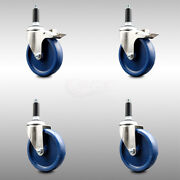 316ss Solid Poly Swvl Ex Caster Set 4 W/5 Blue Wheels And 3/4 Stems - 2 W/total