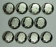 2010 - 2020 Silver Proof Cameo Roosevelt Dime Run 11 Coins