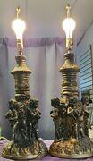 Vintage Set Of 2 Magnificent Putti Cherub Table Lamps 31 Tall Finnial To Base