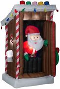 Gemmy Animated Airblown Inflatable Santa's Outhouse