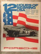 1971 Porsche 917 12 Hours Of Sebring Victory Showroom Advertising Poster Rare