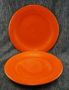 Fiesta Ware Hlc 10.5andrdquo Dinner Plates Radioactive Red - Set Of 2 - Vintage
