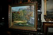 Charming Old Americana Homestead Folk Art Painting Signed And Dated