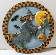 Debbie Mumm Broomhilda 3d Stepping Stone Wall Plaque Halloween Witch 2001 12and039and039